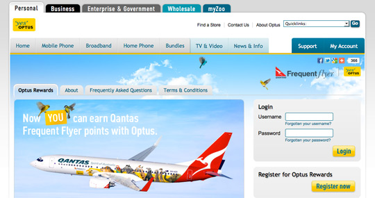 Screenshot of Optus Rewards portal