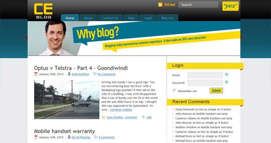 Screenshot of Optus CE Blog
