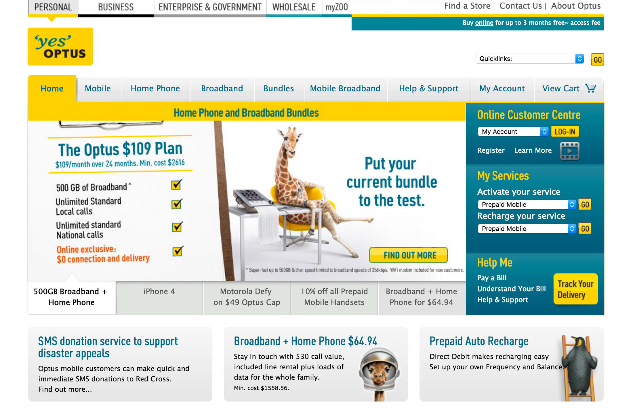 Screenshot of Optus homepage