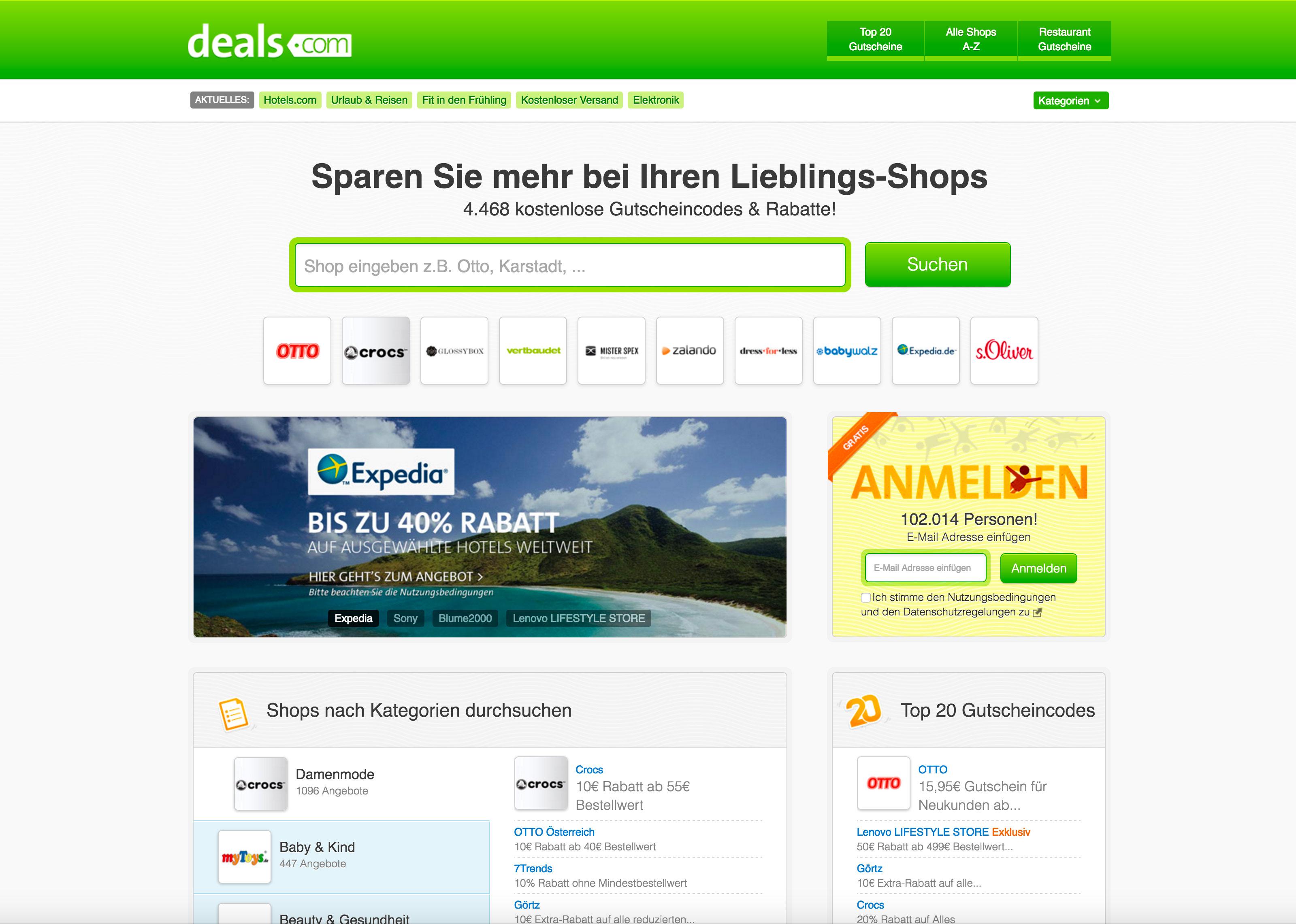 Screenshot of Deals.com homepage