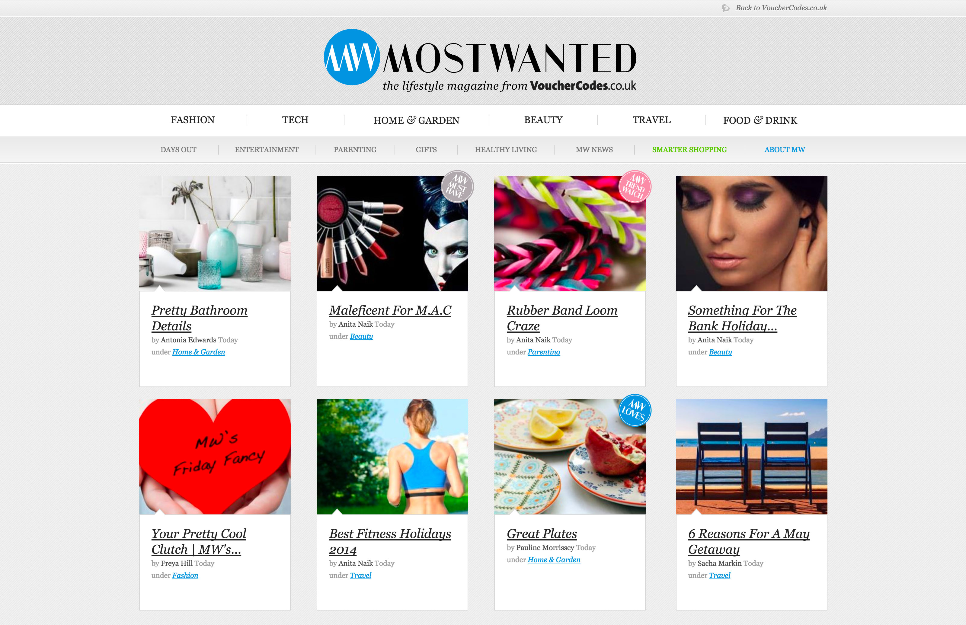 Screenshot of Most Wanted homepage