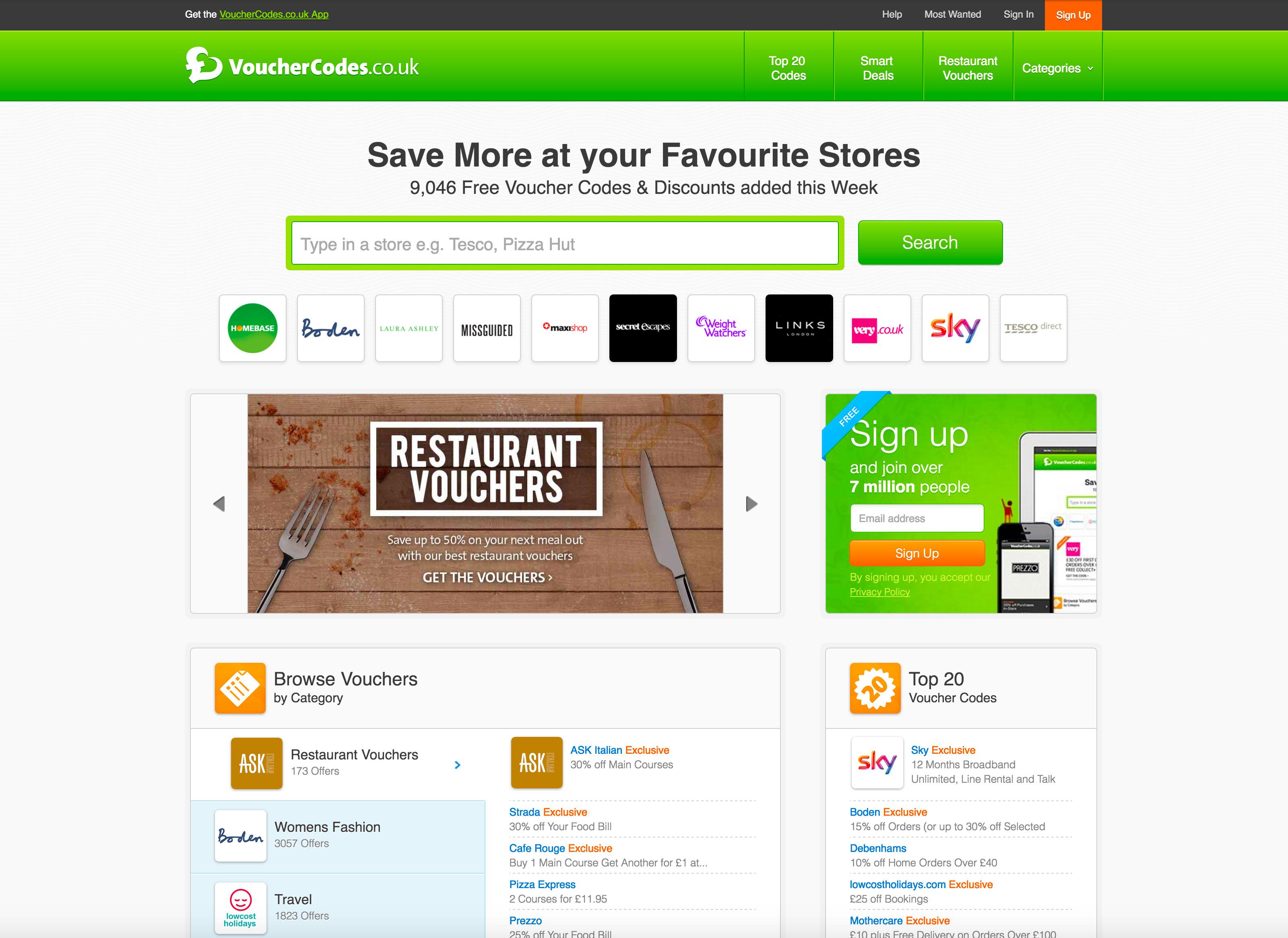 Screenshot of Vouchercodes.co.uk homepage