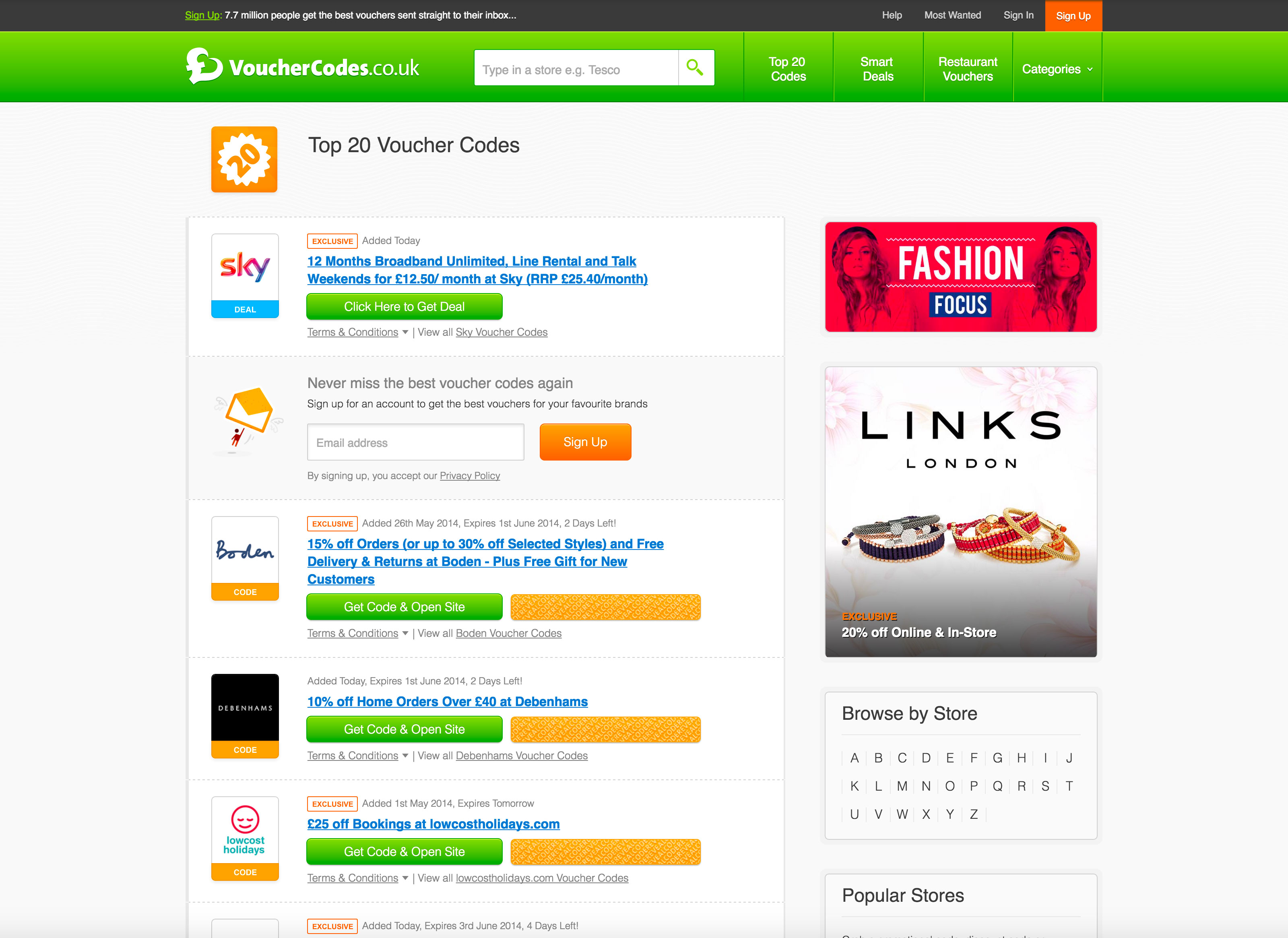 Screenshot of a Vouchercodes.co.uk listing page