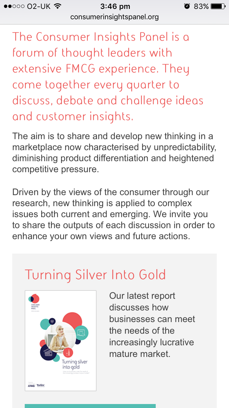 Screenshot of KPMG Consumer Insights panel on mobile