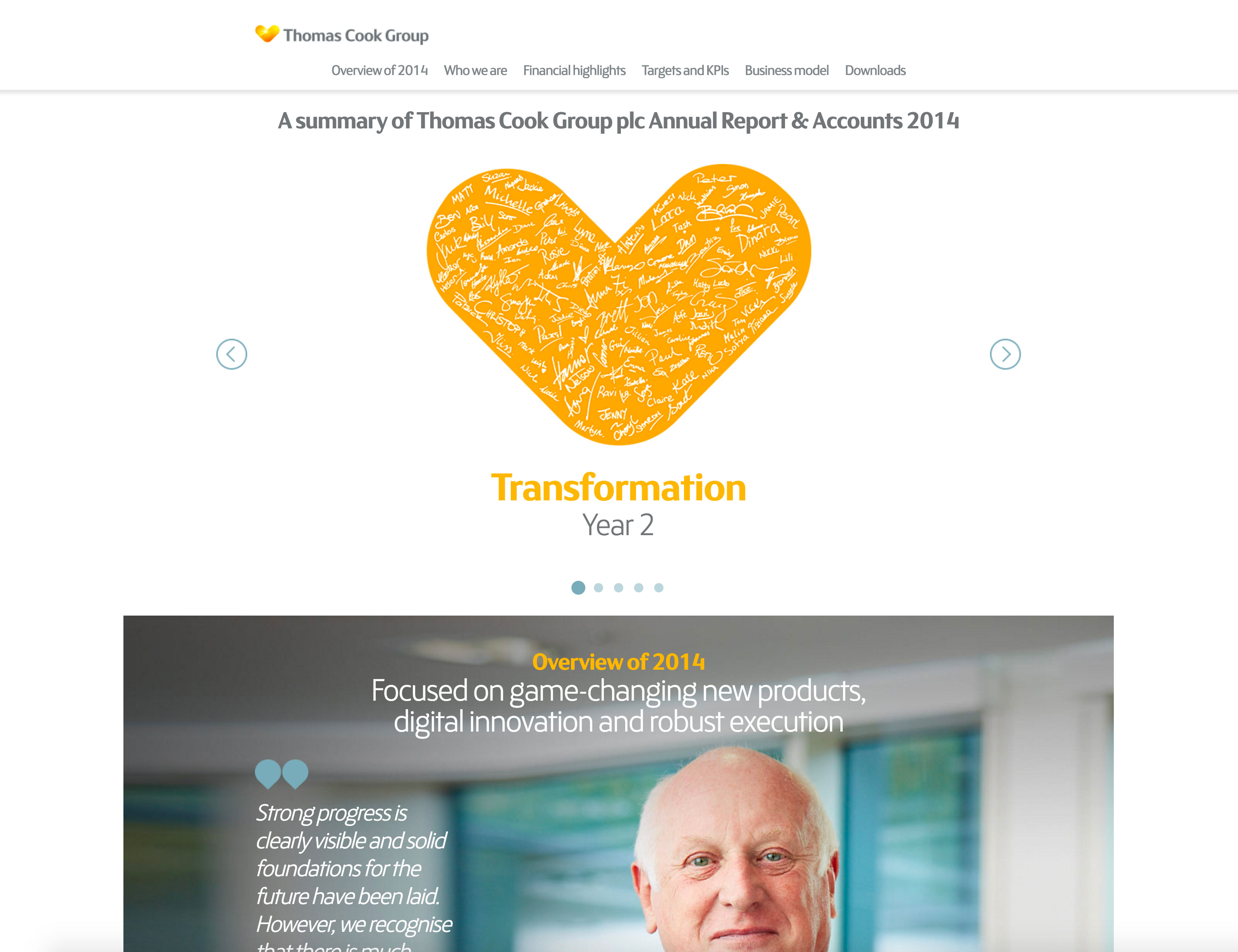 Screenshot of Thomas Cook's 2014 Online Annual Report Overview on desktop