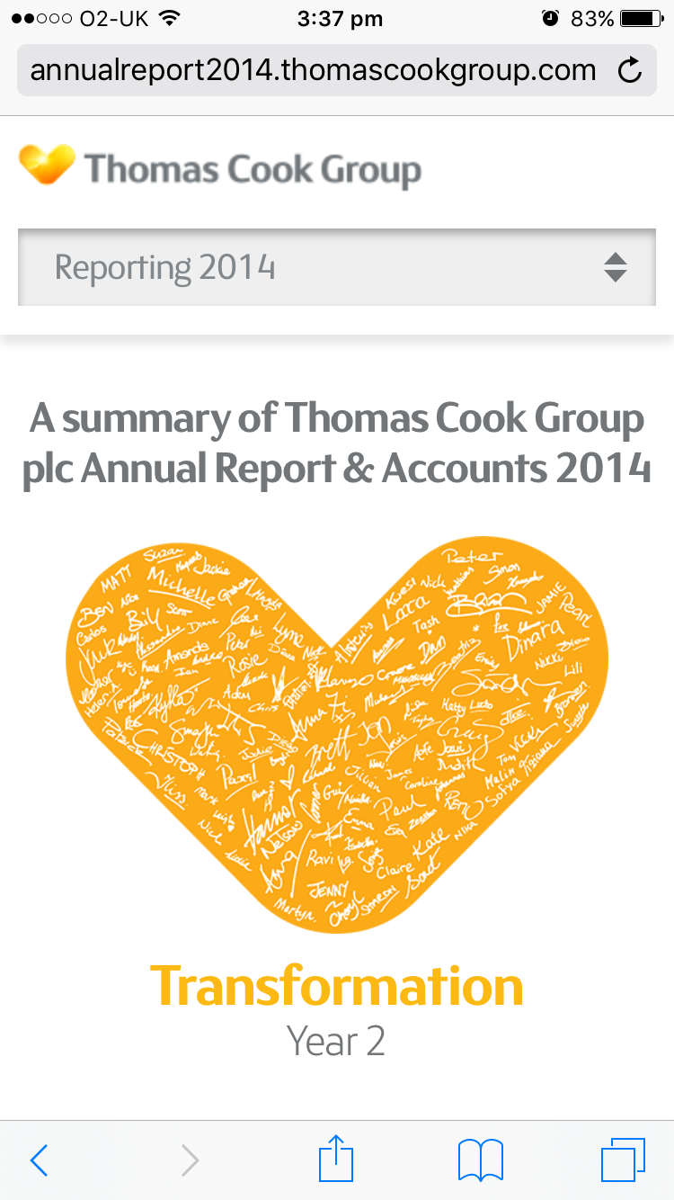 Screenshot of Thomas Cook's 2014 Online Annual Report Overview section on mobile
