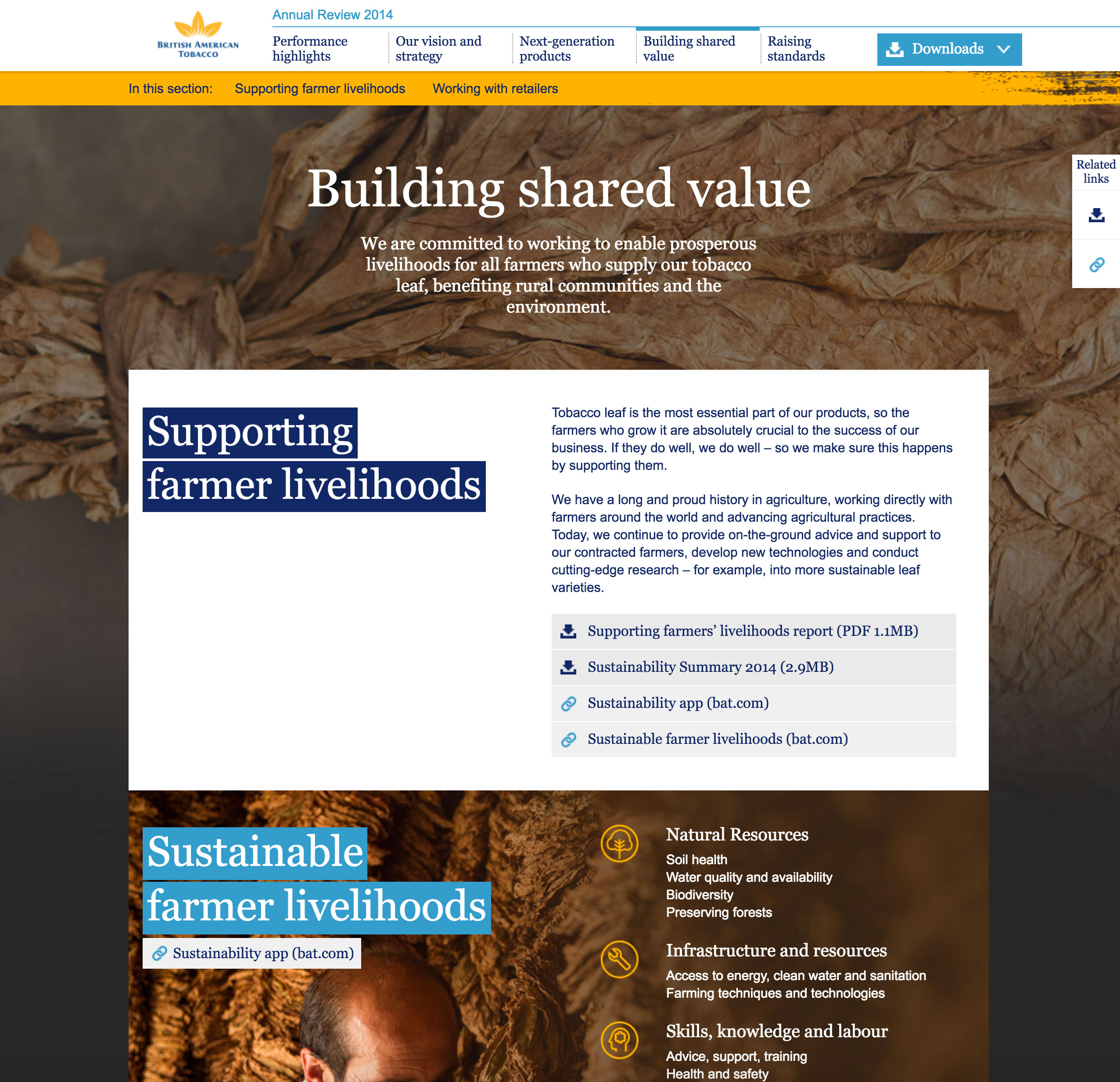 Screenshot of BAT's 2014 Online Annual Report Building shared value page on desktop