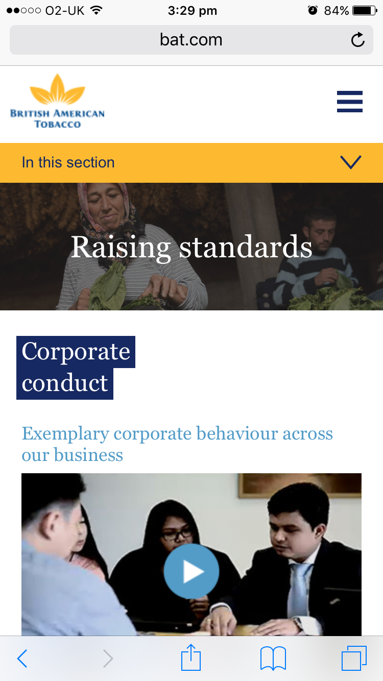 Screenshot of BAT's 2014 Online Annual Report Corporate conduct on mobile