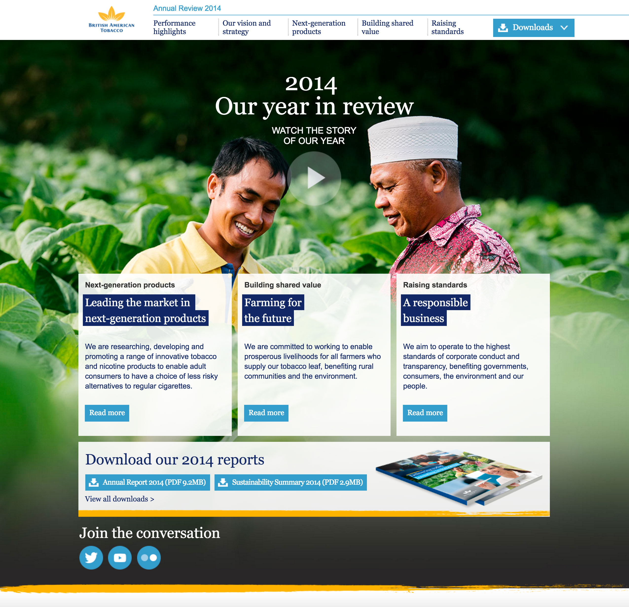 Screenshot of BAT's 2014 Online Annual Report homepage on desktop