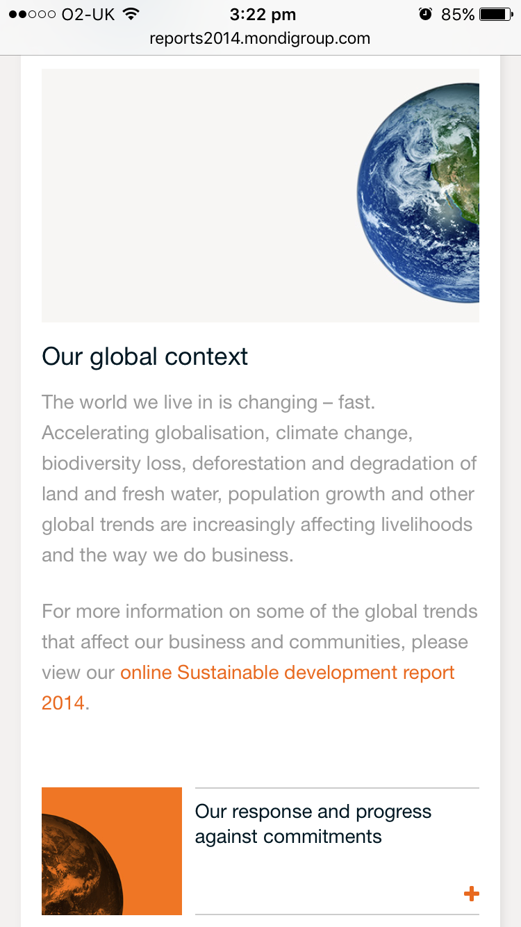 Screenshot of Mondi's 2014 Online Annual Report Global context section on mobile
