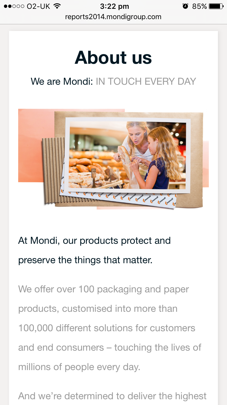 Screenshot of Mondi's 2014 Online Annual Report About us section on mobile