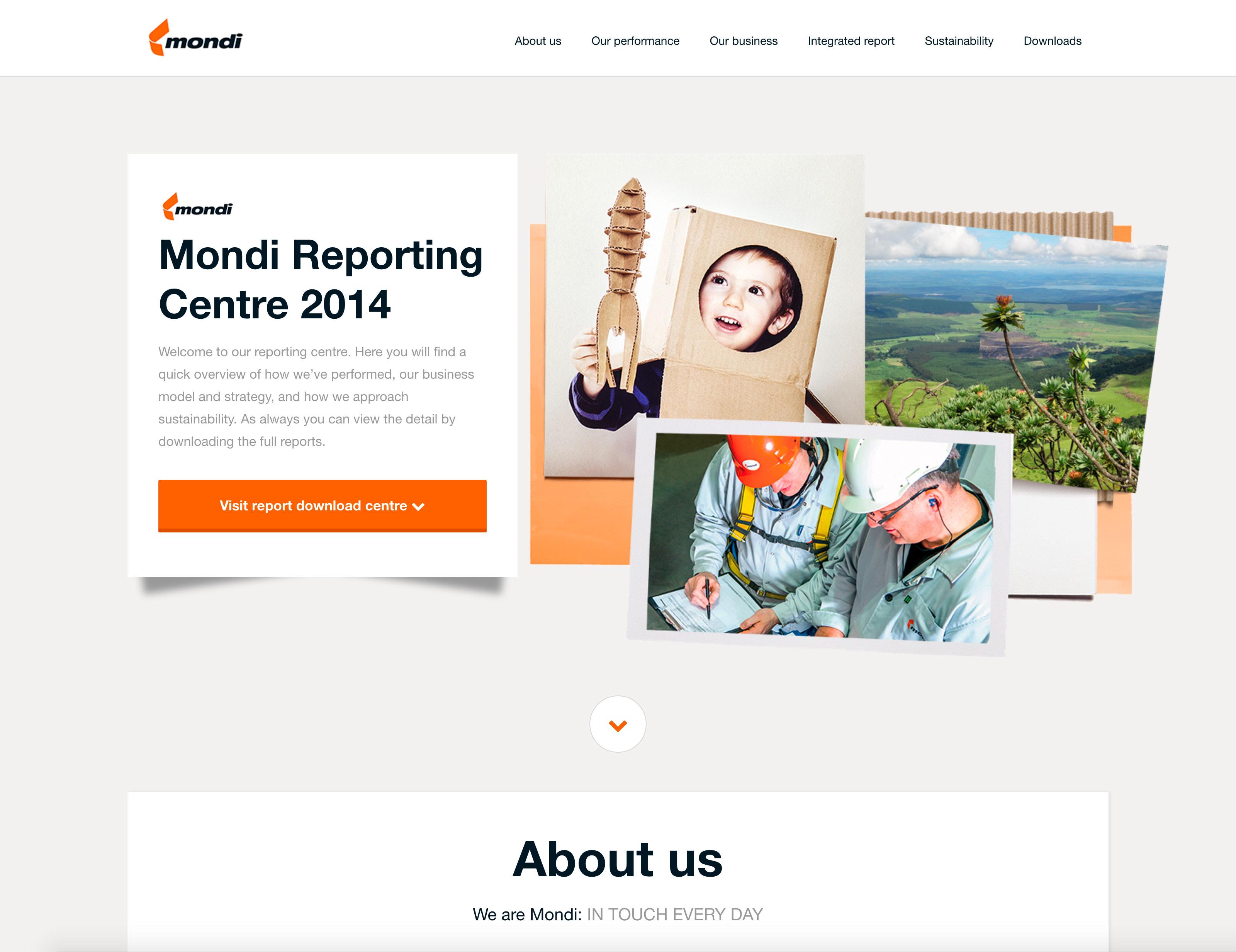 Screenshot of Mondi's 2014 Online Annual Report on desktop