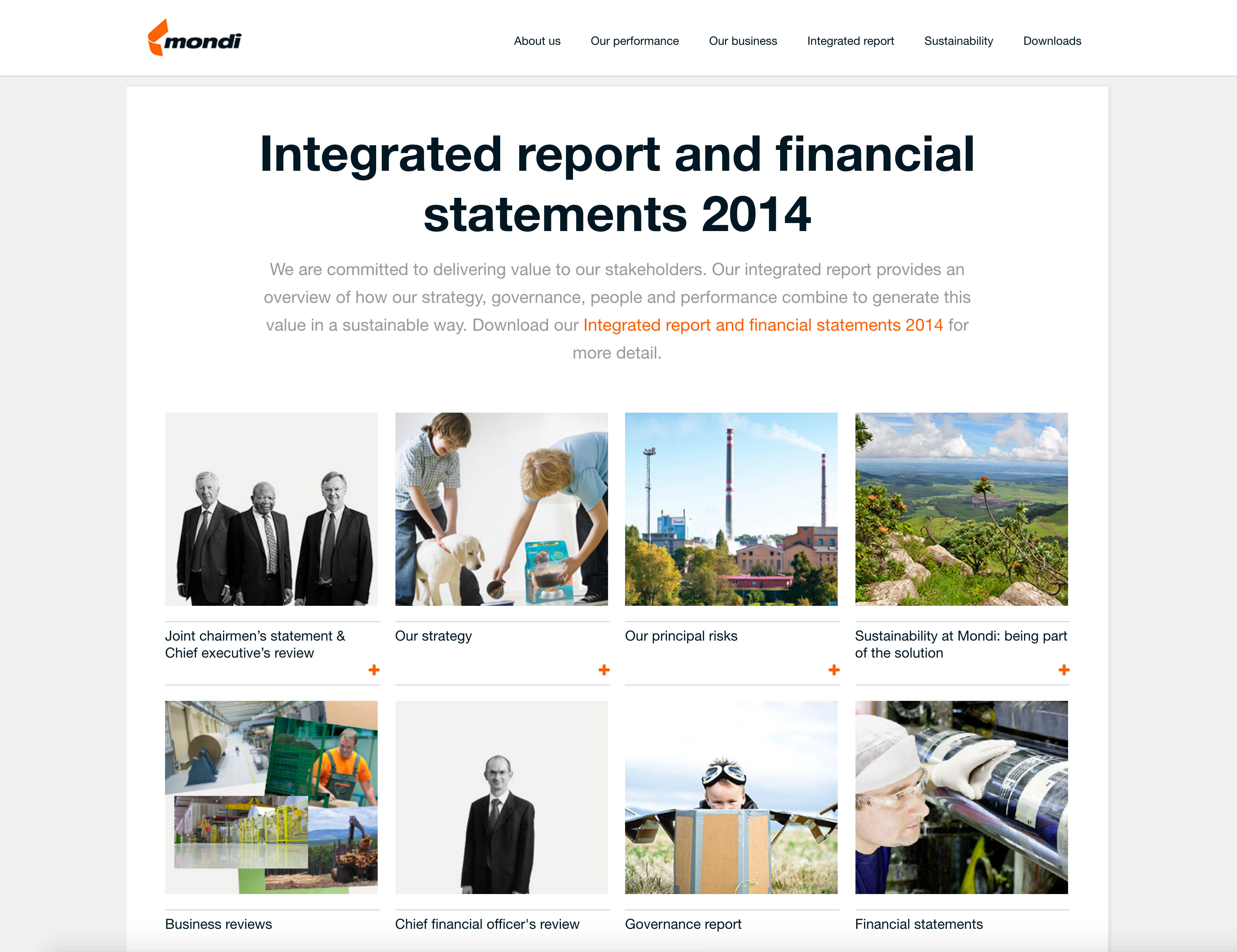 Screenshot of Mondi's 2014 Online Annual Report Integrated report section on desktop