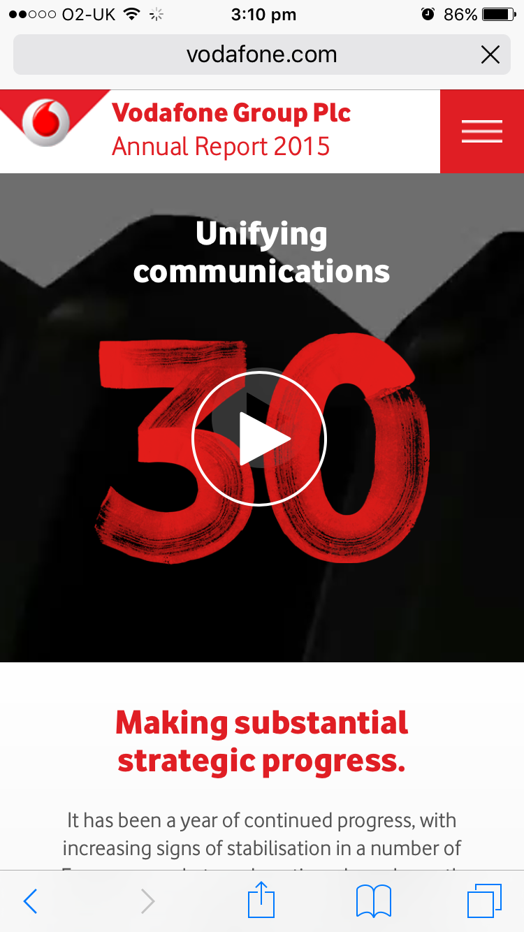 Screenshot of Vodafone's 2015 Online Annual Report on mobile
