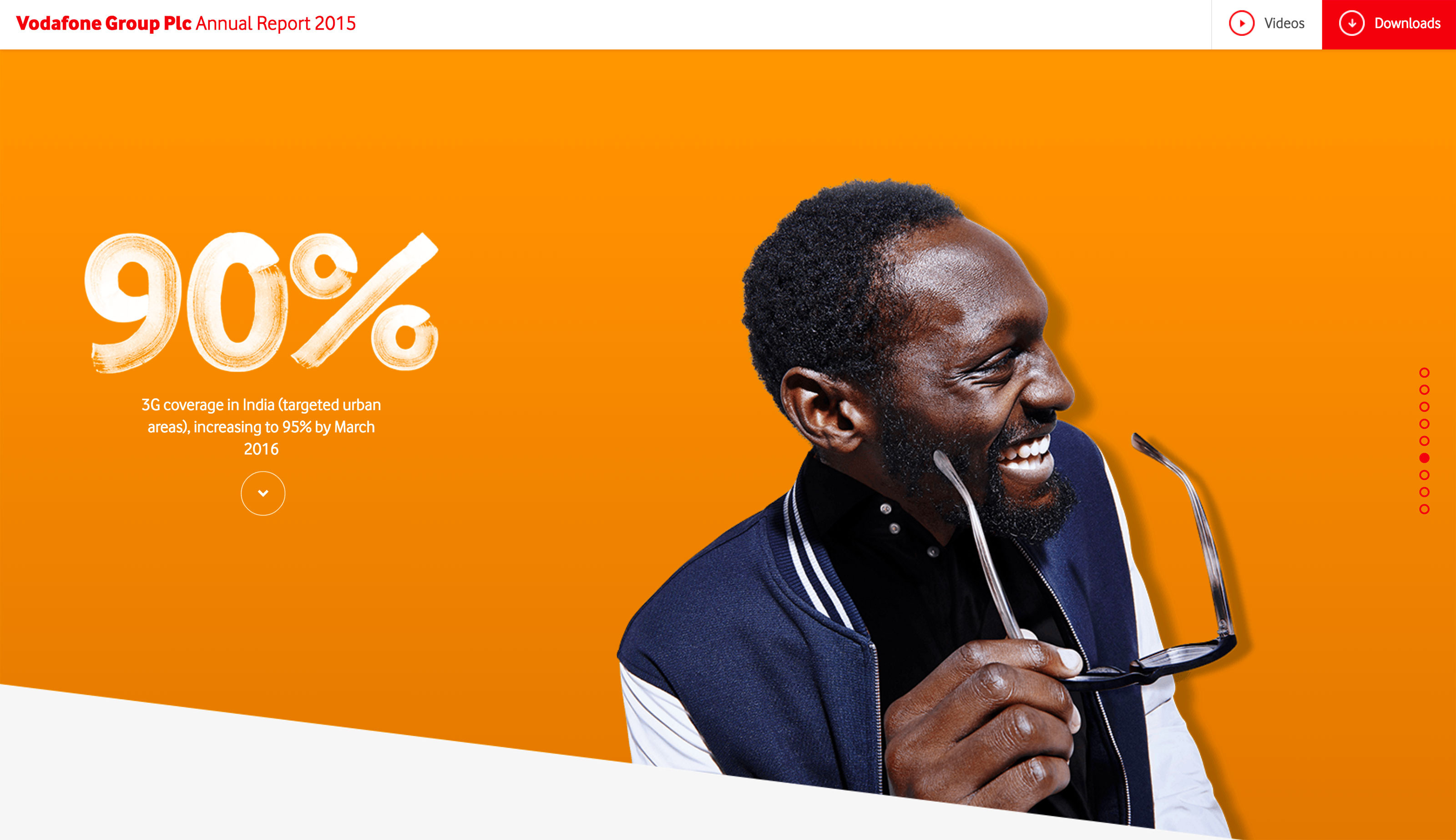 Screenshot of Vodafone's 2015 Online Annual Report 3G coverage section on desktop