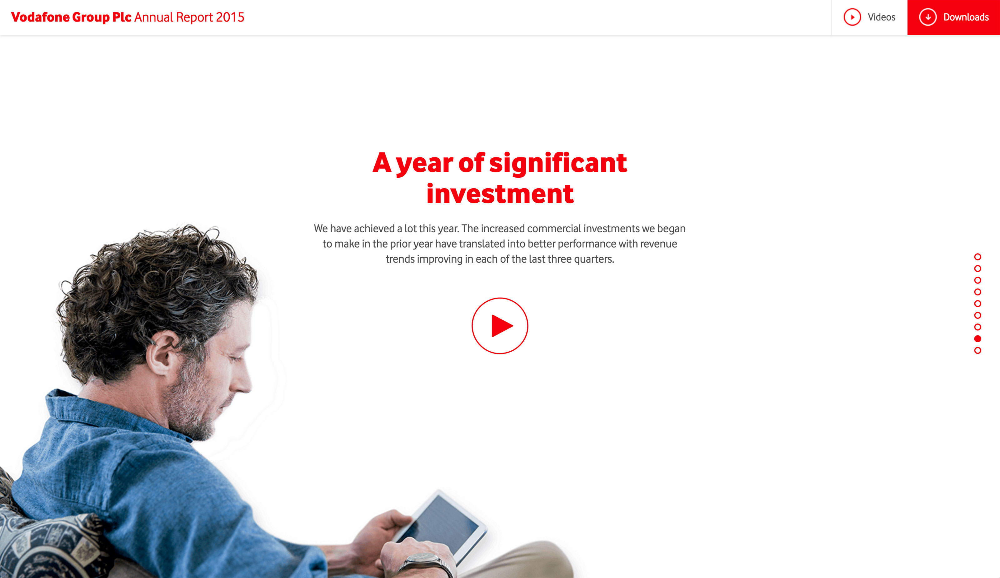 Screenshot of Vodafone's 2015 Online Annual Report Investment section on desktop