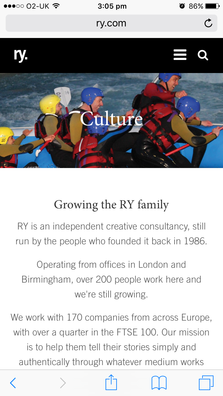 Screenshot of RY culture page on mobile