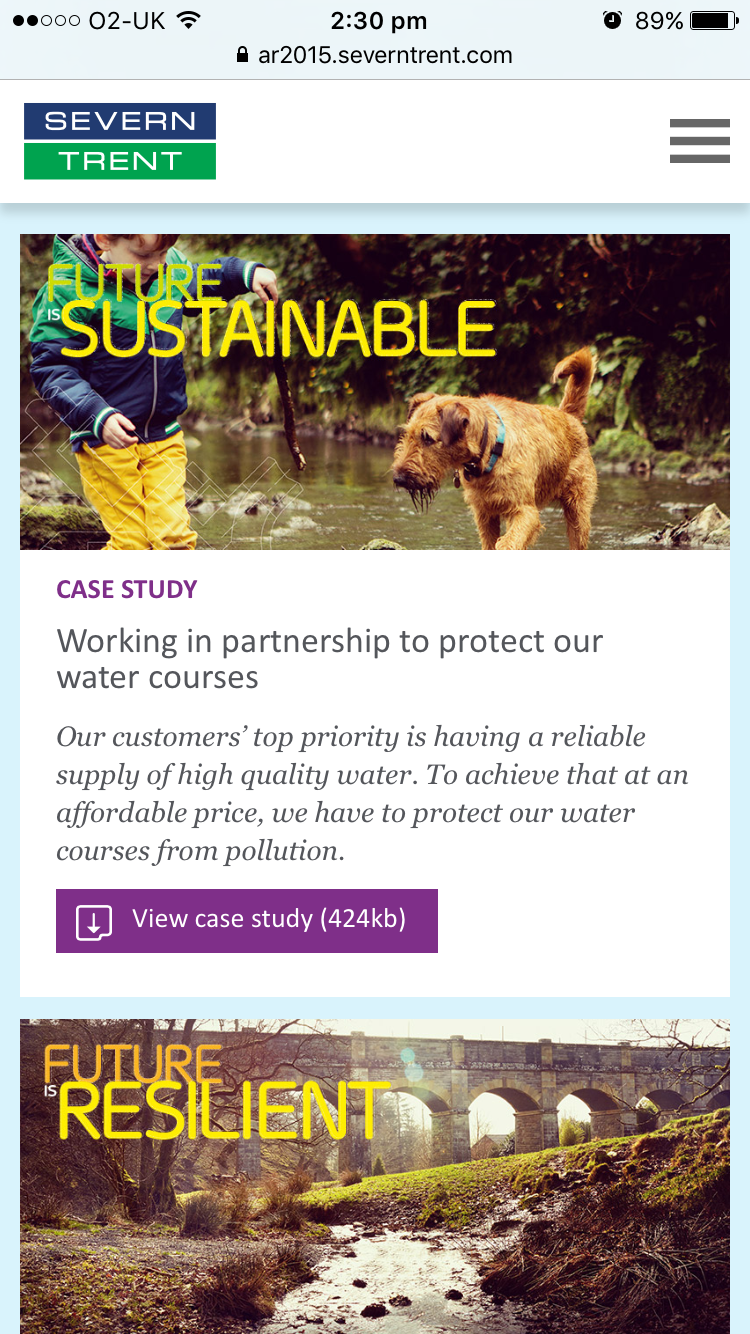 Screenshot of Severn Trent 2015 Annual Review case study section on mobile