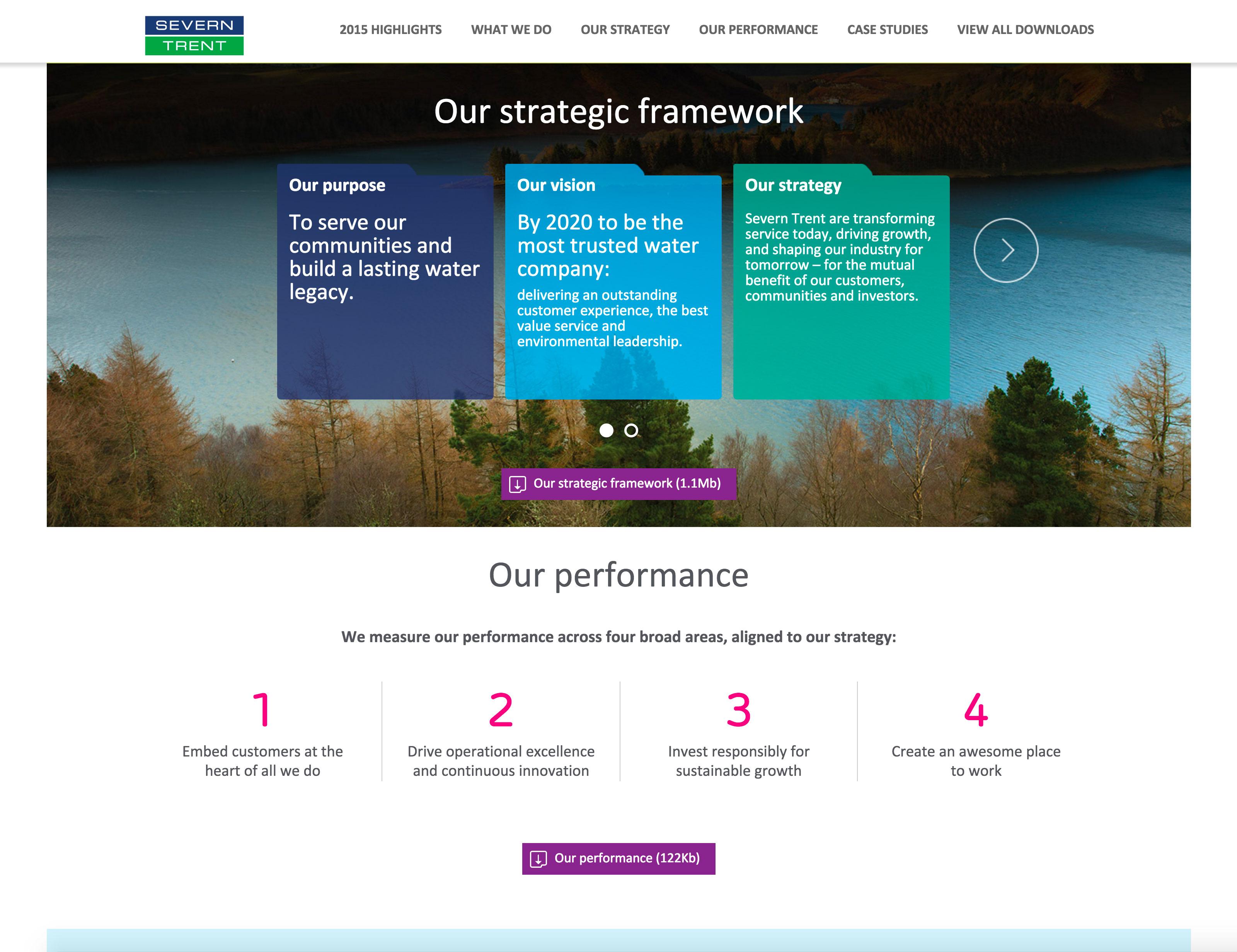 Screenshot of Severn Trent 2015 Annual Review strategic framework section on desktop