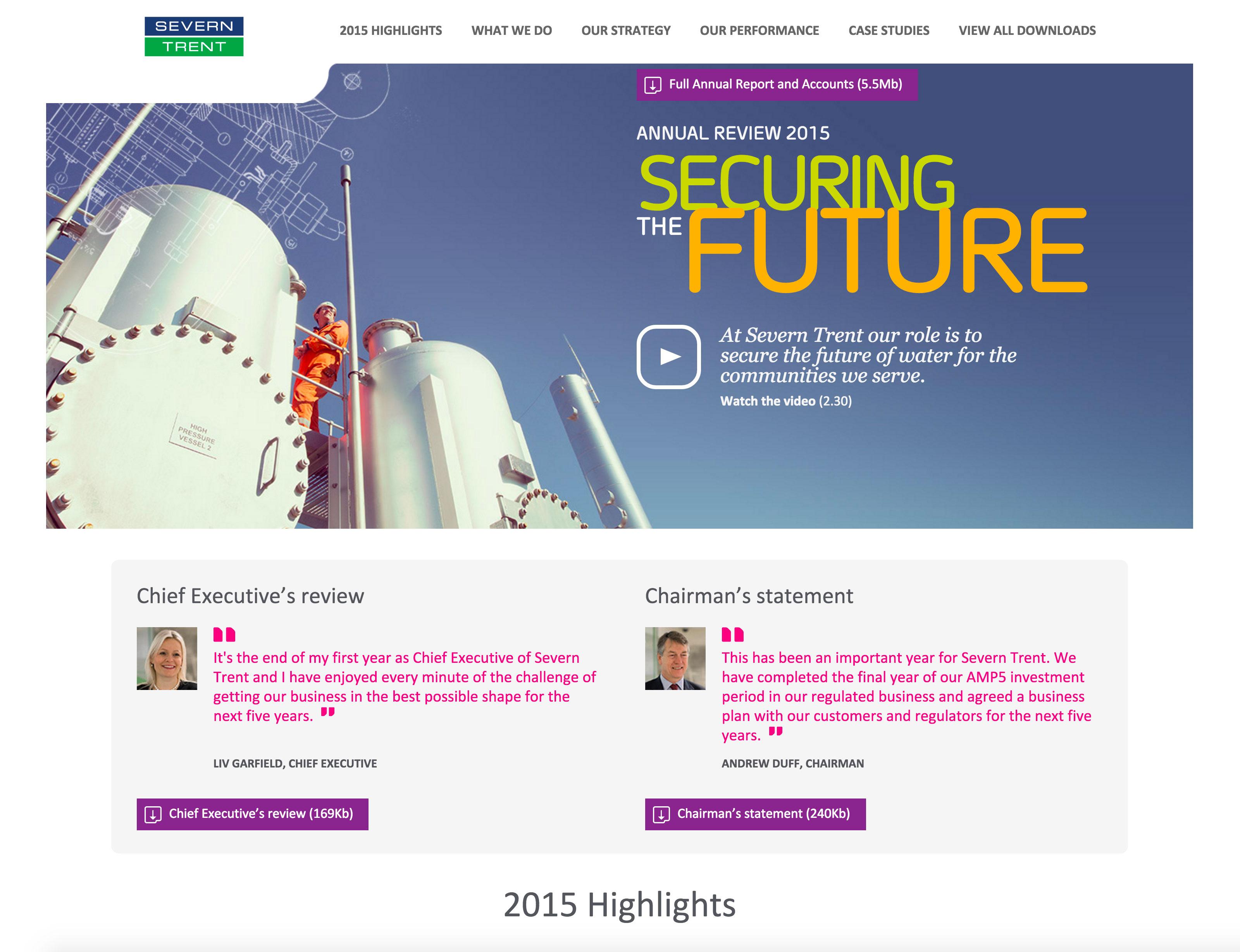 Screenshot of Severn Trent 2015 Annual Review on desktop