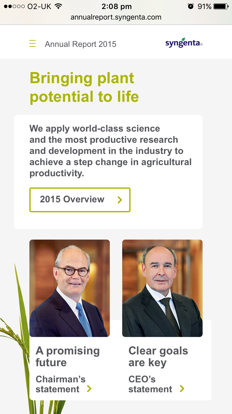 Screenshot of Syngenta Annual Report 2015 homepage on mobile