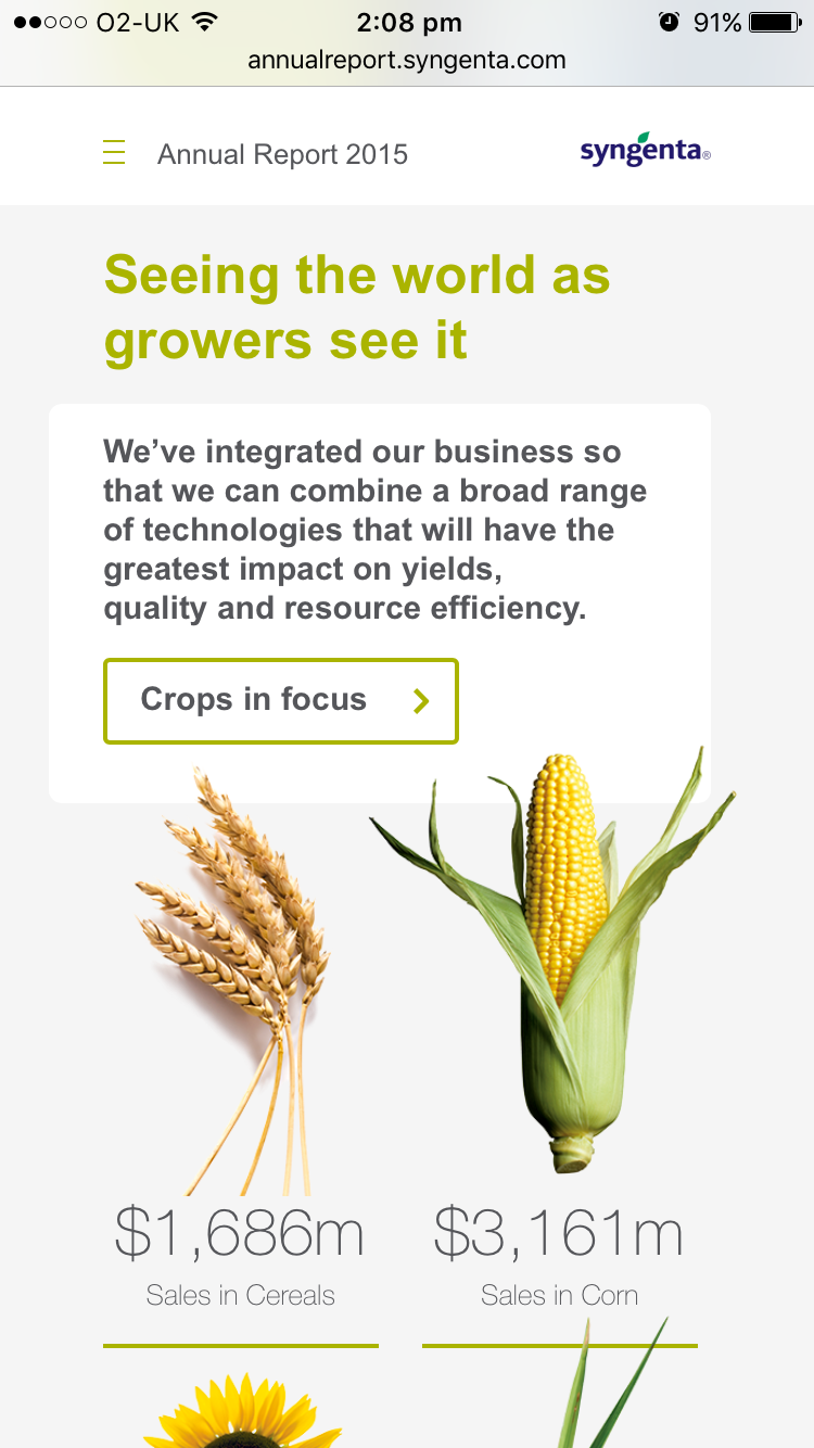 Screenshot of Syngenta Annual Report 2015 crops page on mobile