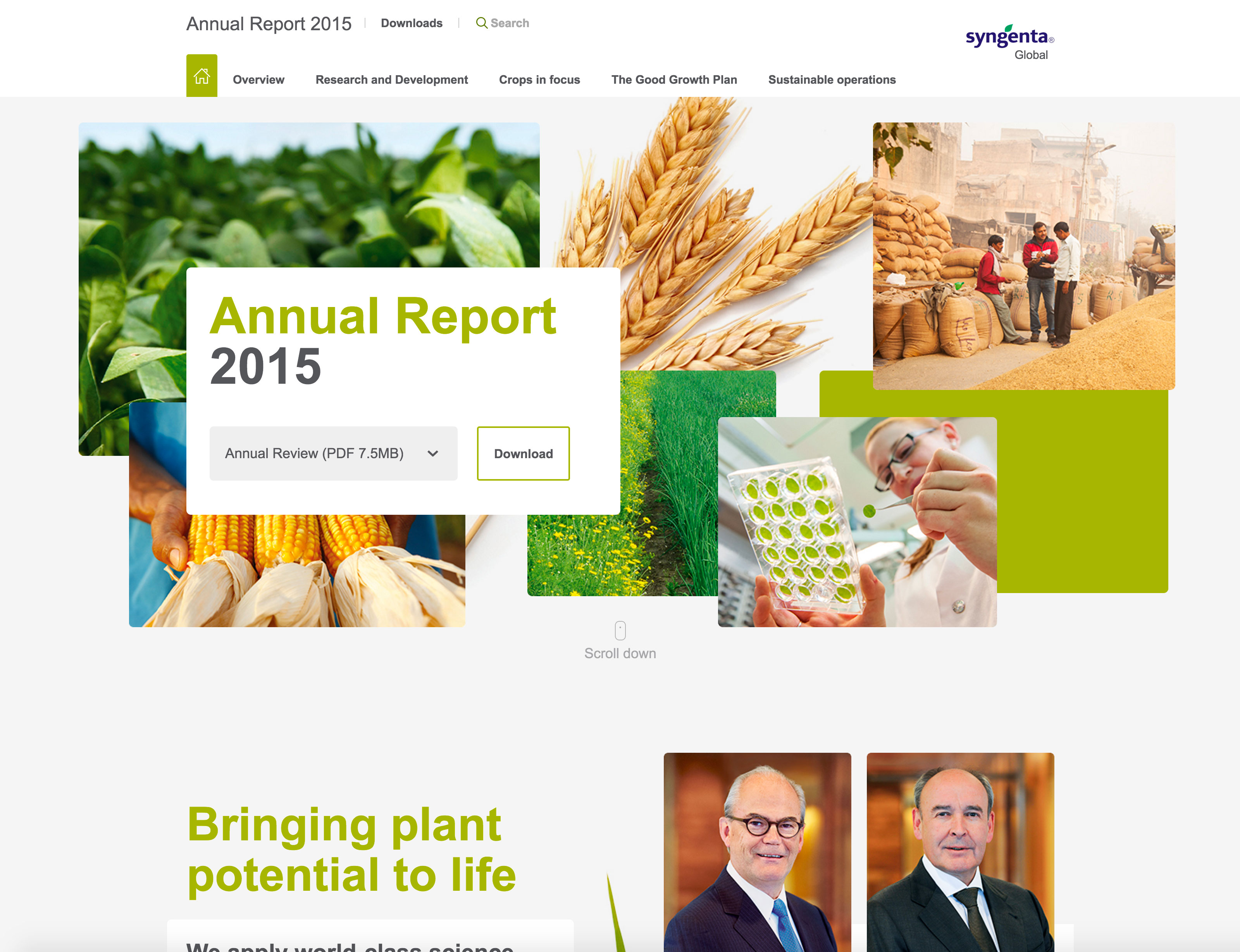 Screenshot of Syngenta Annual Report 2015 homepage on desktop
