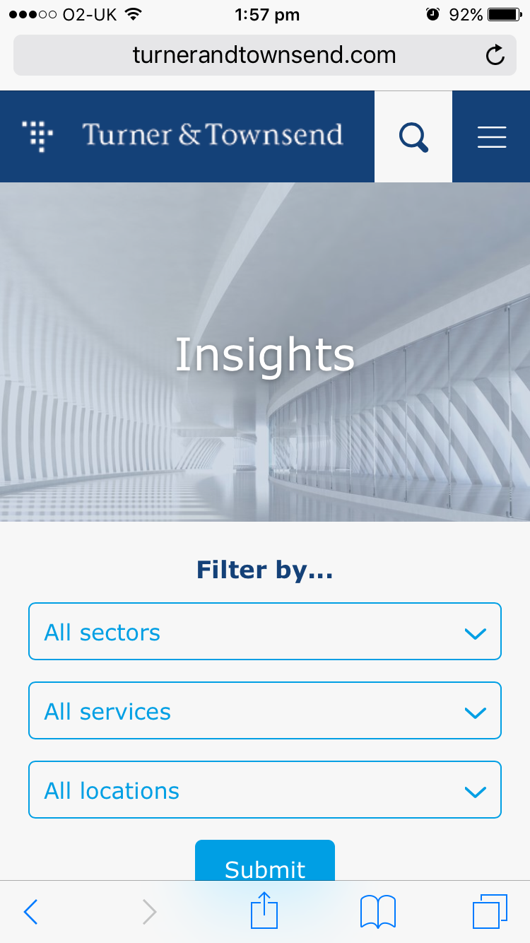 Screenshot of Turner & Townsend insights page on mobile