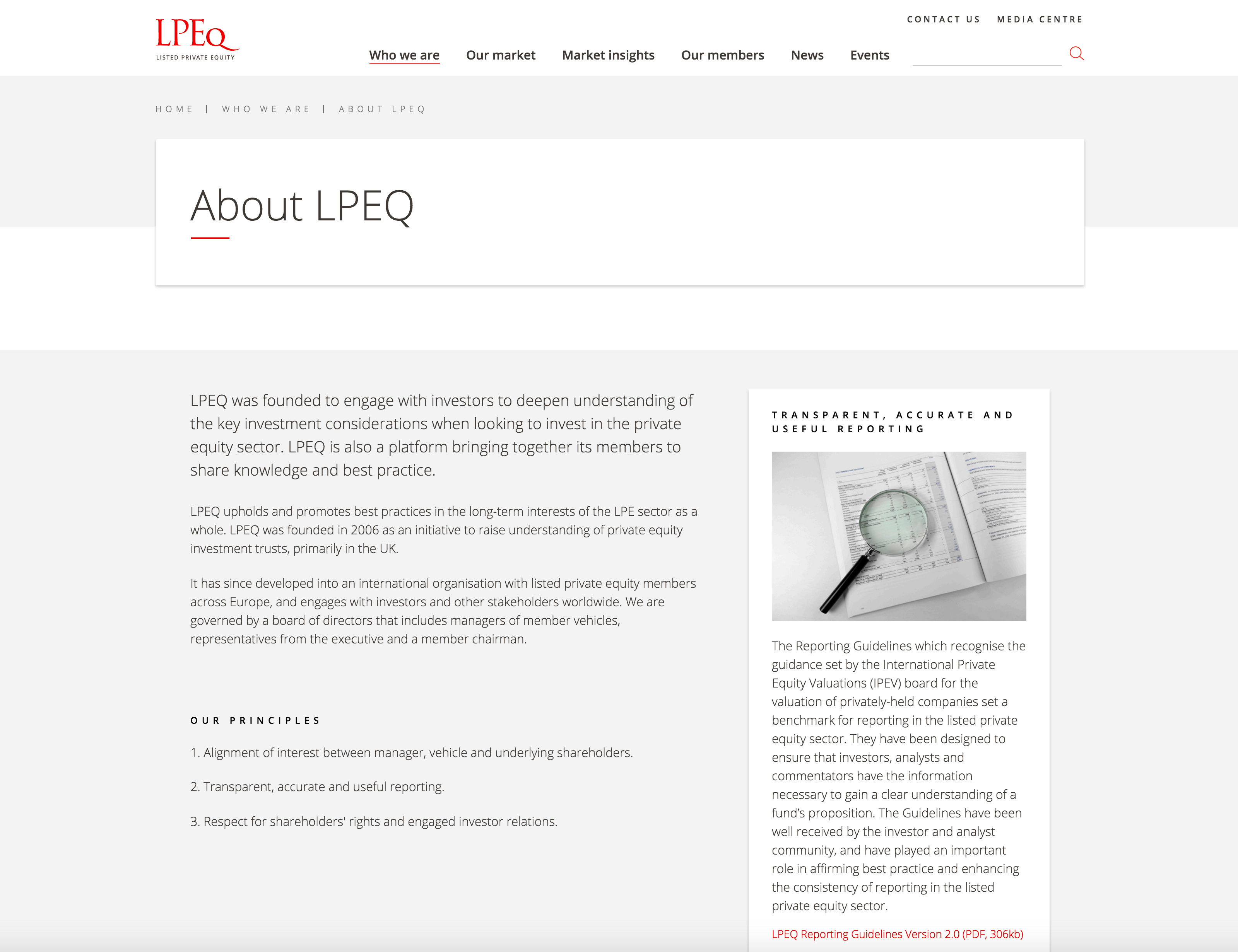 Screenshot of LPEQ about page on desktop