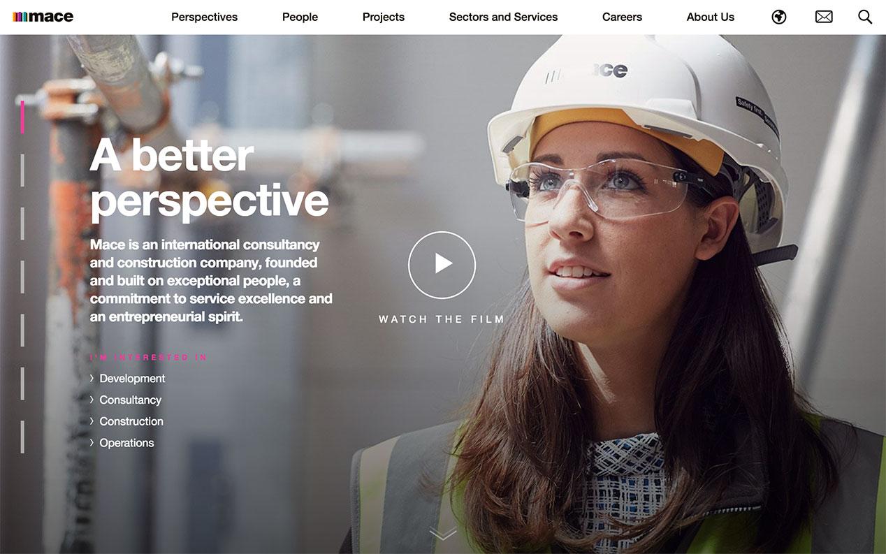 Screenshot of Mace homepage on desktop