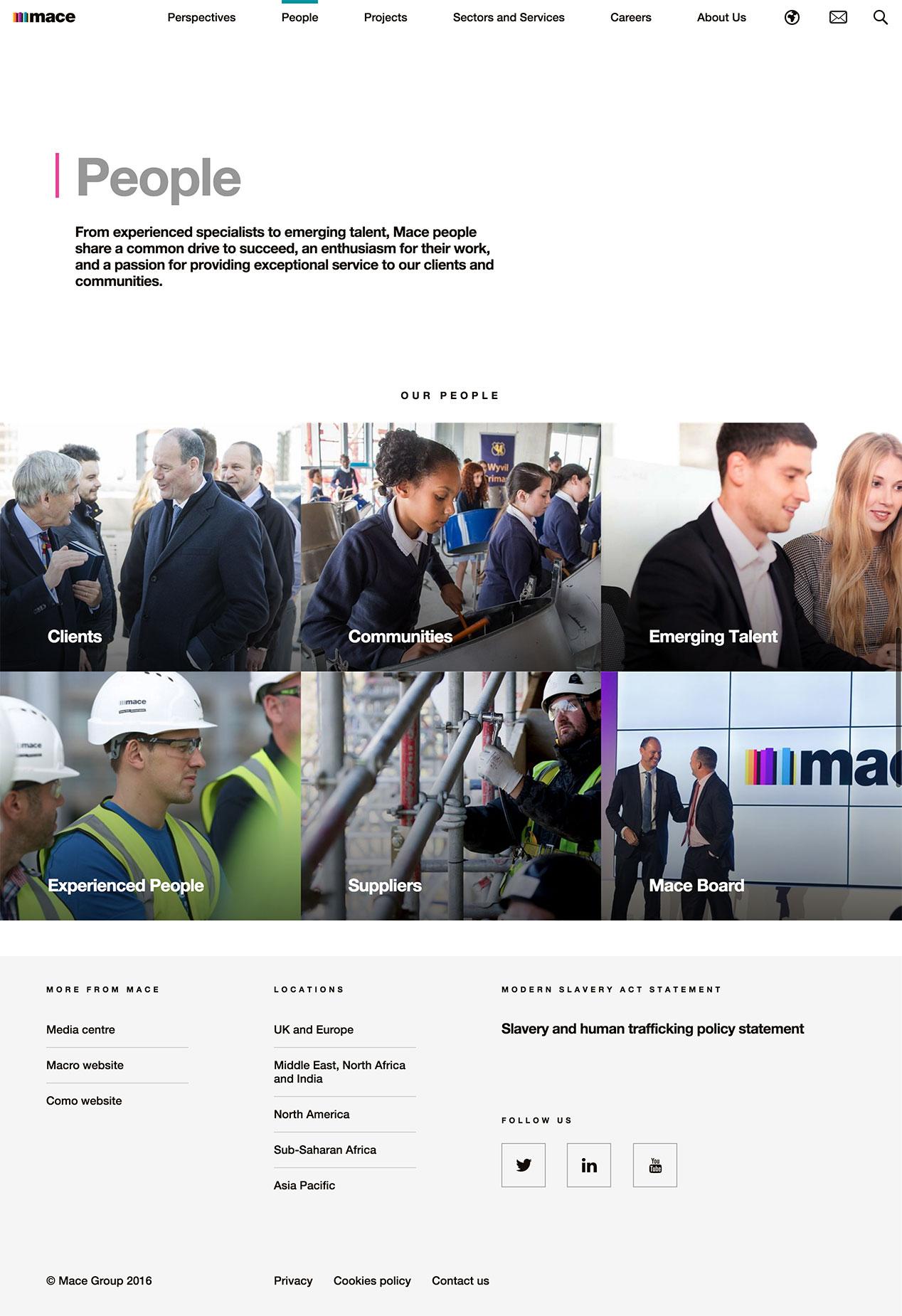 Screenshot of Mace people page on desktop