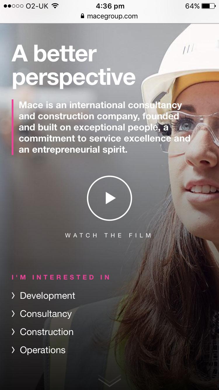 Screenshot of Mace homepage on mobile