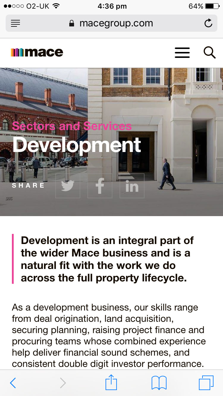 Screenshot of Mace development page on mobile