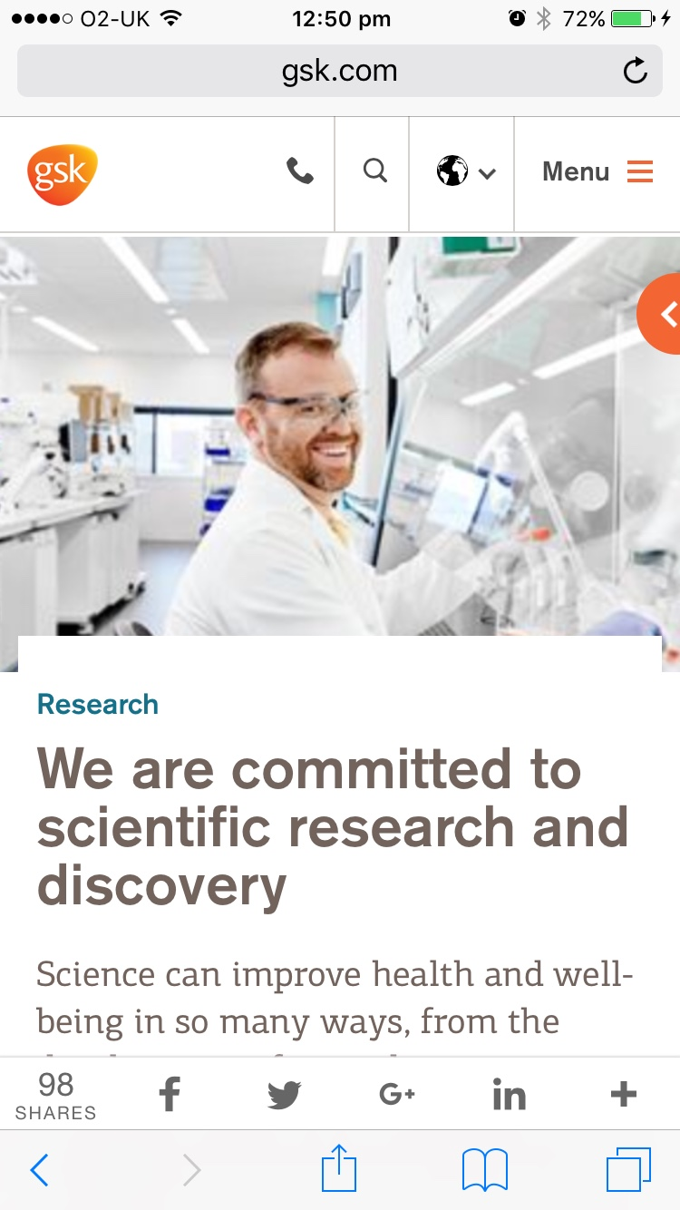 Screenshot of GSK research page on mobile