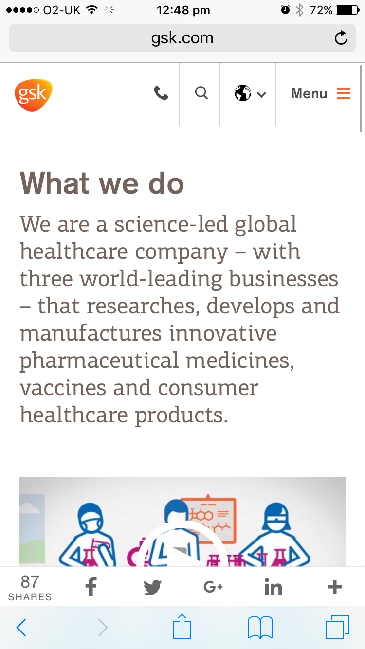 Screenshot of GSK what we do page on mobile