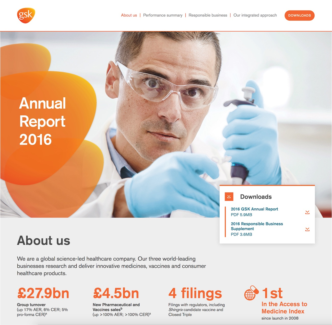Screenshot of GSK 2016 Annual Report on desktop