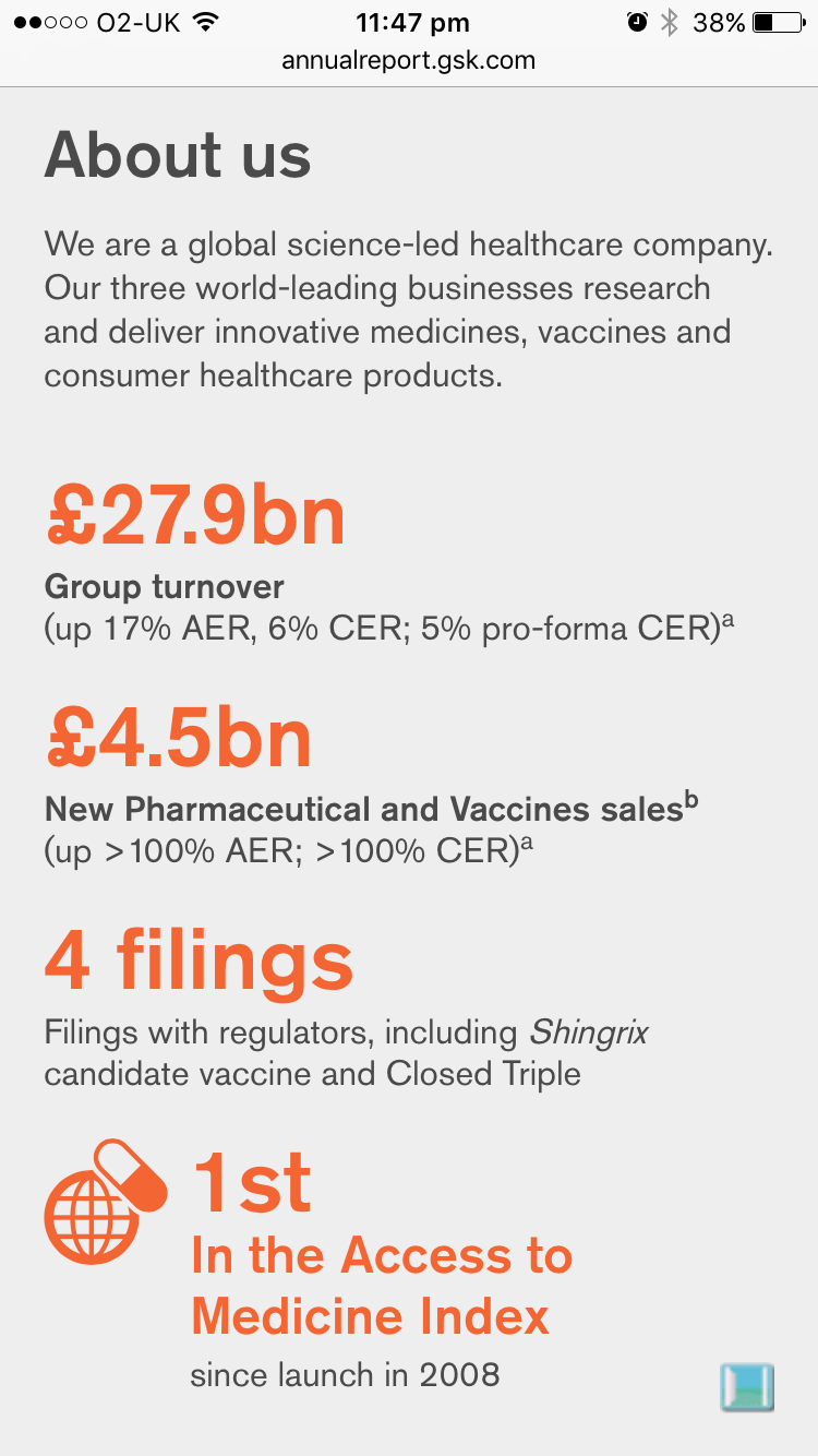 Screenshot of GSK 2016 Annual Report about us section on mobile