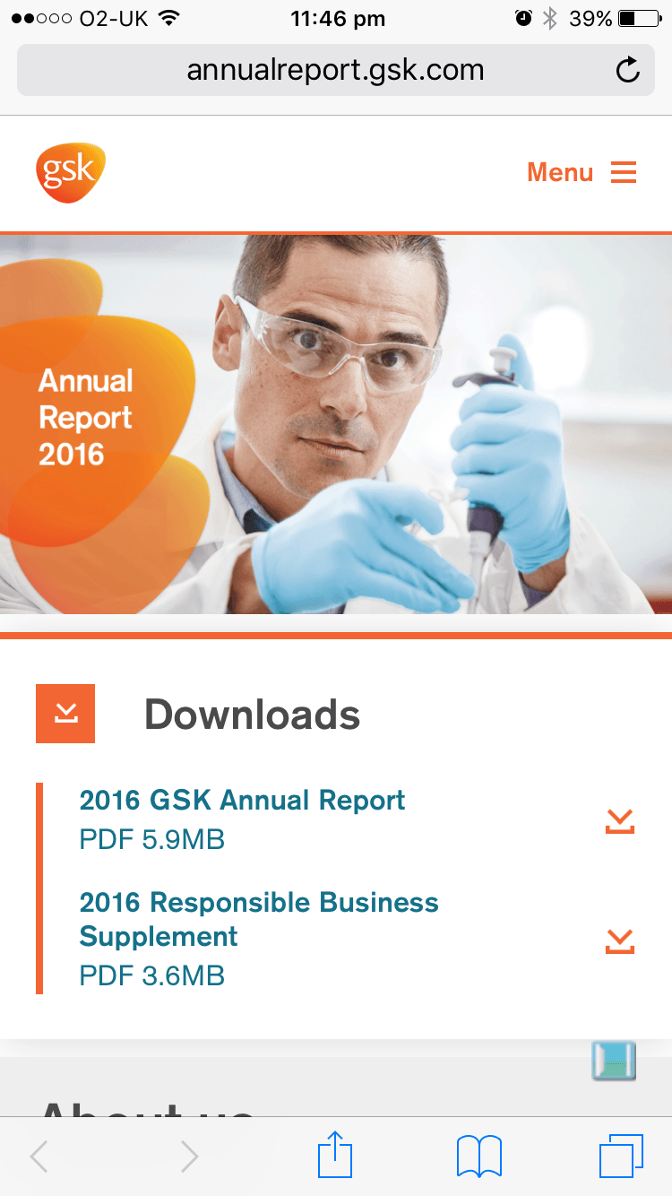 Screenshot of GSK 2016 Annual Report downloads section on mobile