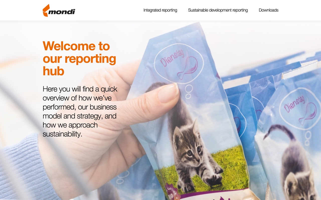 Screenshot of Mondi 2016 Reporting Hub on desktop